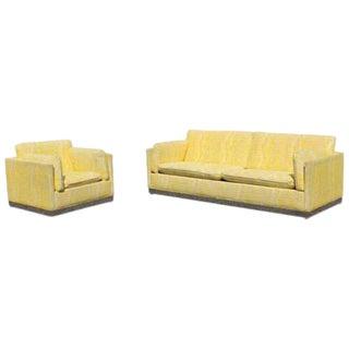 Mid Century Modern Jack Cartwright Sofa Chair Set Plinth Chrome Base Baughman For Sale