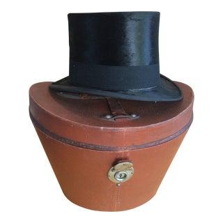 Vintage Beaver Top Hat in Leather Trimmed Hat Box Case For Sale
