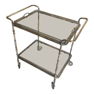 1960's Italian Silver-Plate Bar Cart With New Glass Shelves For Sale