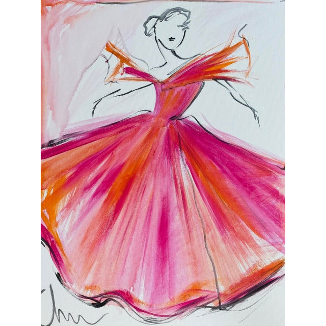 """""""Sunrise Flutter Sleeve Ball Gown"""" Original Christian Siriano Painting For Sale"""