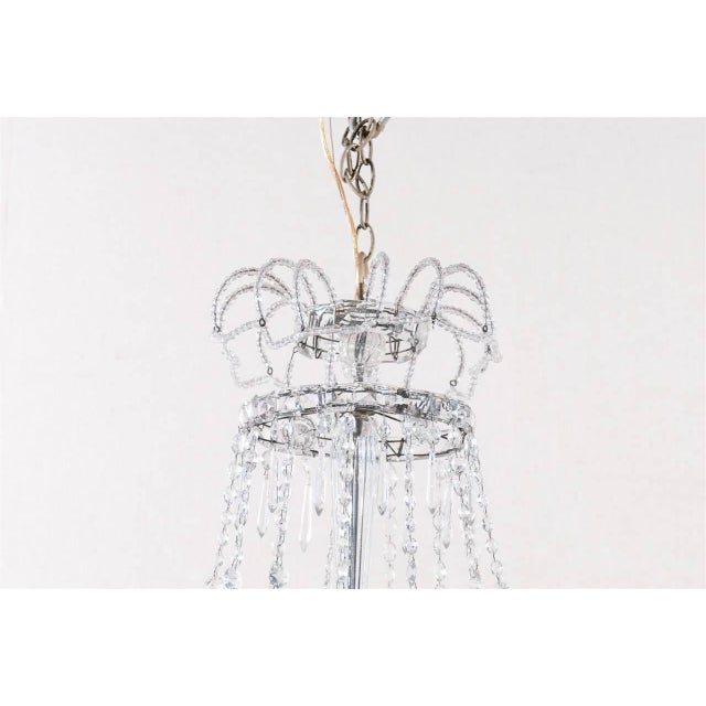 Italian Italian Crystal Four-Light Chandelier With Crystal Center Column For Sale - Image 3 of 11