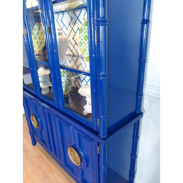 Faux Bamboo Navy Blue Lacquered China Cabinet For Sale - Image 9 of 13