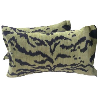 "Moss Scalamandre ""Le Tigre"" Down Pillows - a Pair For Sale"
