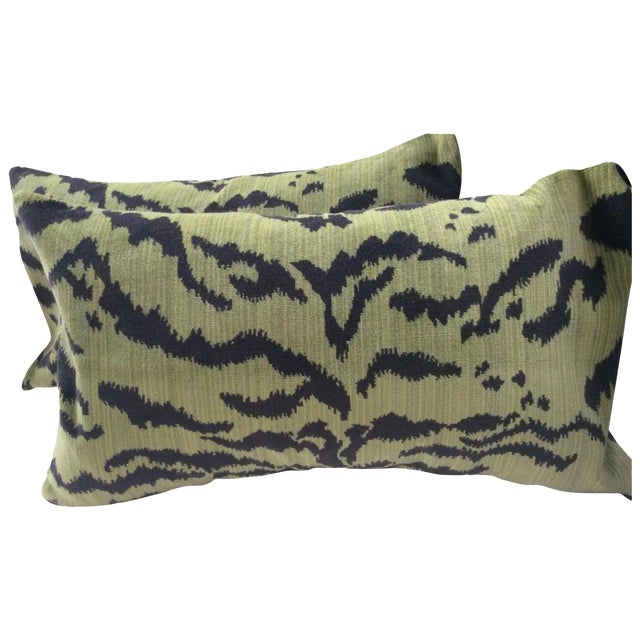 """Moss Scalamandre """"Le Tigre"""" Down Pillows - a Pair For Sale"""