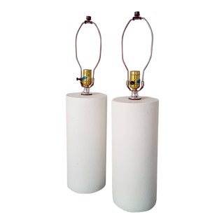 1980s Plaster Cylinder Lamps - a Pair For Sale