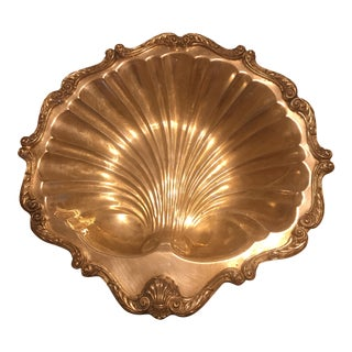 Scallop Shell English Silver Tray For Sale