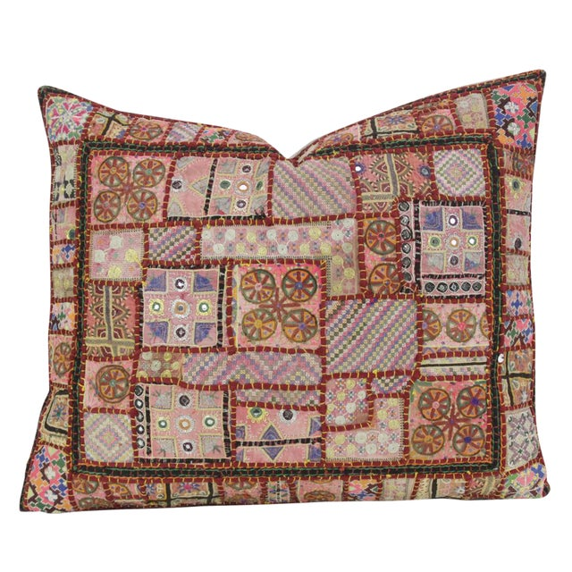 Large Red Tone Jaislmer Pillow For Sale