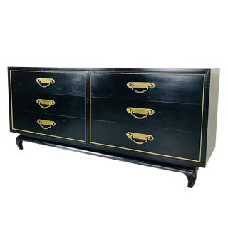 Black & Gold Asian Style Dresser by American of Martinsville For Sale