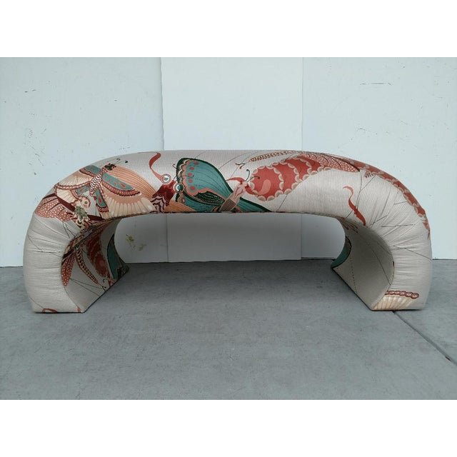 1970's Modern Asian Style Upholstered Bench For Sale - Image 4 of 12