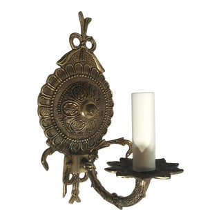 Vintage Brass Electric Wall Sconce Made in Spain For Sale