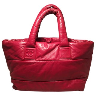 Chanel Red and Navy Puffy Leather Cocoon Tote Bag For Sale