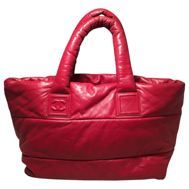 fa3fefc68d Chanel Red and Navy Puffy Leather Cocoon Tote Bag   Chairish