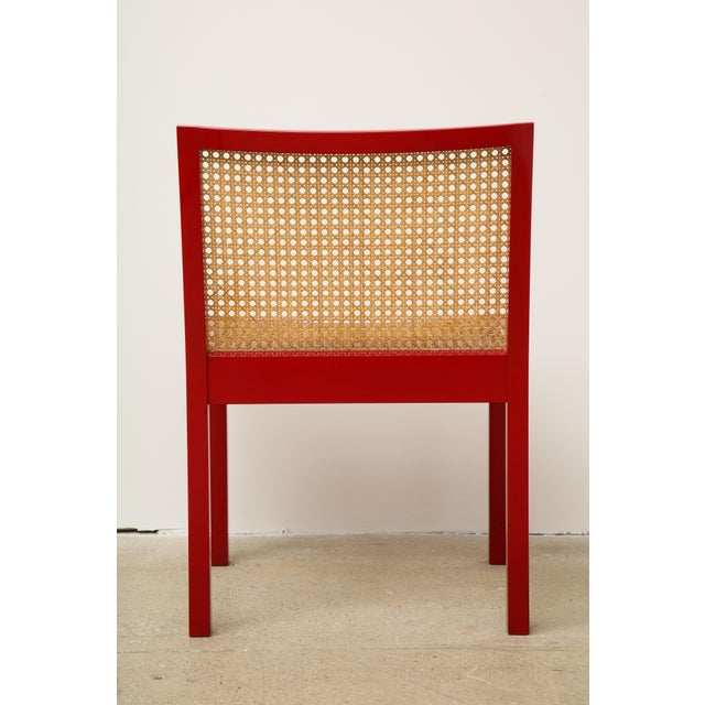"1950s Set of Four Red Lacquered ""Bankshuhl"" Chairs by Willy Guhl for Stendig For Sale - Image 5 of 13"