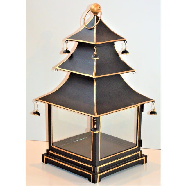 Asian Vintage Chinoiserie Black and Gold Pagoda Hurricane Lantern For Sale - Image 3 of 6