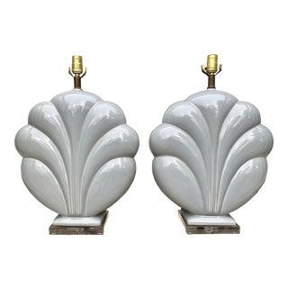 Monumental Art Deco Ceramic Lamps - a Pair For Sale