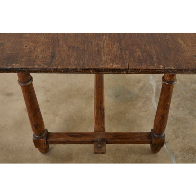 Country English Provincial Oak Farmhouse Trestle Dining Table For Sale - Image 10 of 13