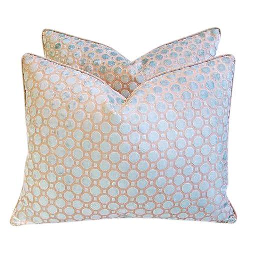 Aqua Blue Velvet Geometric Pillows - Pair - Image 1 of 7