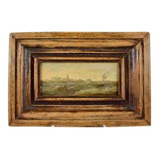 18th C. Dutch Oil on Board Seascape Painting – Custom Walnut Wood Frame For Sale