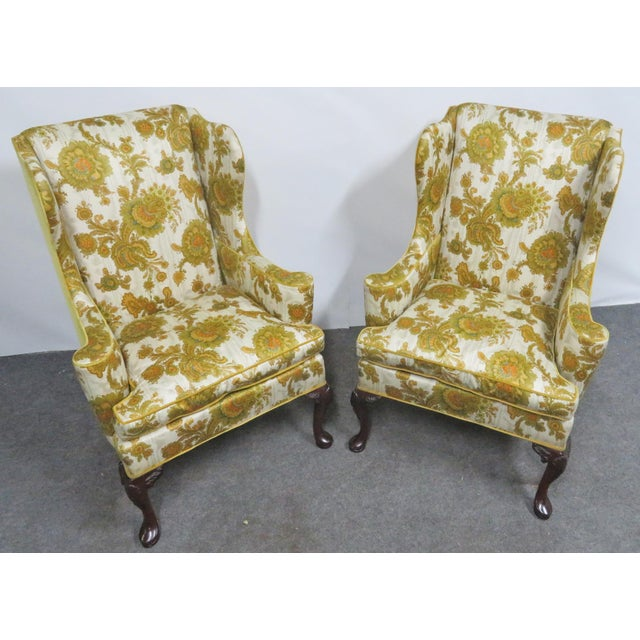 Hickory Chair Co. Queen Anne Style Wing Chairs- a Pair For Sale In Philadelphia - Image 6 of 9