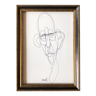 Small Contemporary Abstract Alberto Giacometti Style Original Portrait Ink Drawing by Cody Orrell For Sale