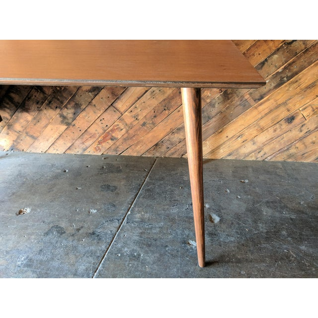 Custom Large Mid Century Style Walnut Desk For Sale In Los Angeles - Image 6 of 11