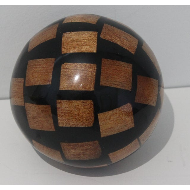 Contemporary Vintage Decorative Spheres of Random Lacquered Mahogany Chips - 5 Are Available For Sale - Image 3 of 7