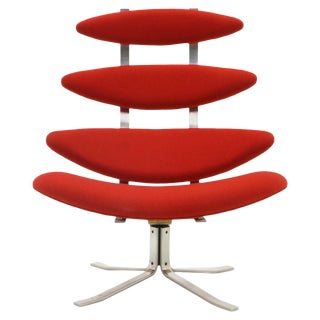 Corona Chair by Poul Volther, New Knoll Red Upholstery, High Back Swivel For Sale