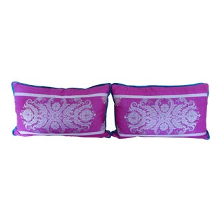 Custom Fuchsia Silk Patterned Pillows - A Pair For Sale