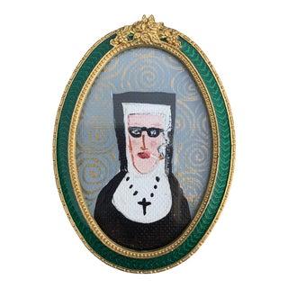 "1990s ""Smoking Nun"" Folk Art Style Painting, Framed For Sale"