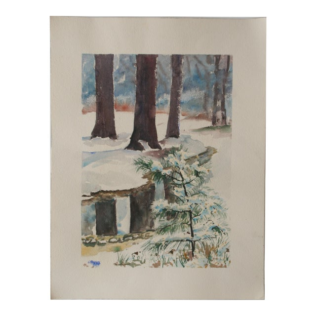Vintage Watercolor Painting of Snow on Trees - Image 1 of 5