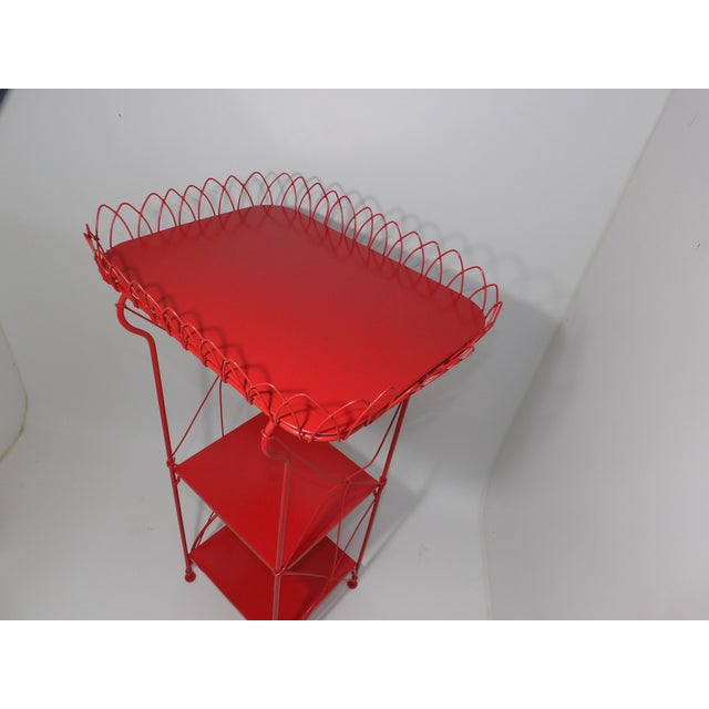 Metal French Country Farmhouse Red Metal Shelf For Sale - Image 7 of 8