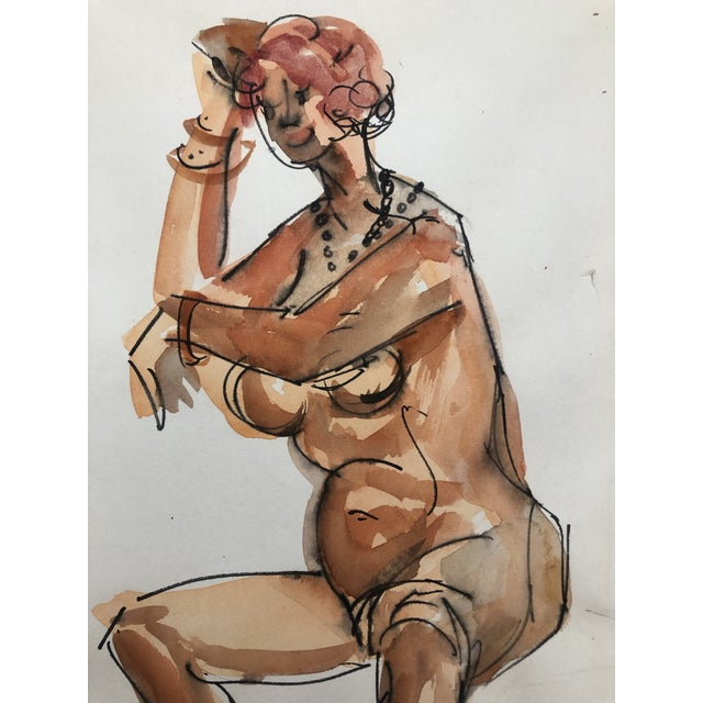 1950s Watercolor of a Seated Female Nude, Stanley Brodey For Sale - Image 4 of 5