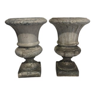 French Enameled Cast Iron Urns - A Pair