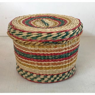 Vintage Woven Round Basket With Lid Preview