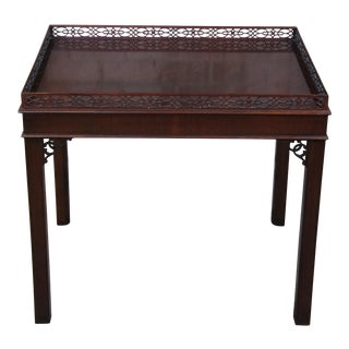 Chippendale Kindel Carved Mahogany Tea Table For Sale