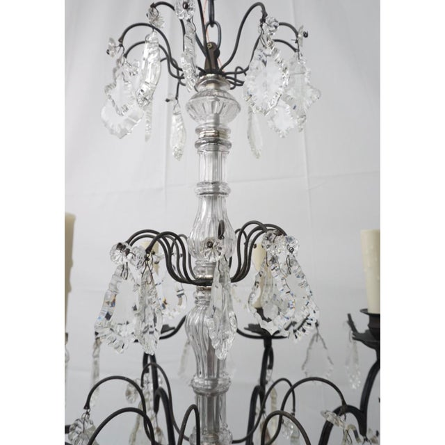 20th century French style chandelier, antique bronze frame with 8 light chandelier. chandelier has just been American...