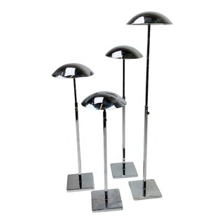 Mid-Century Modern Solid Stainless Steel Adjustable Hat Pedestals - Set of 4 For Sale