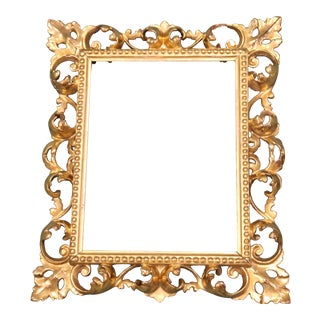 Antique Italian Venetian Hand Carved Wood Gold Gilt Picture Frame For Sale