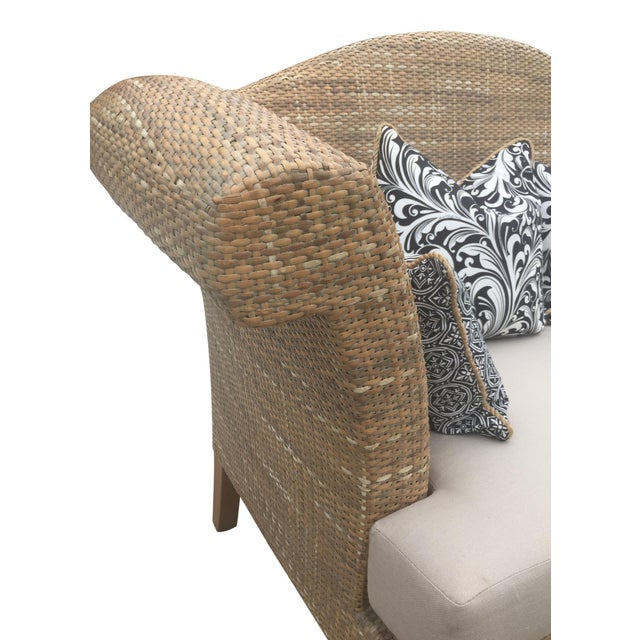 White Natural Woven Rattan Settee For Sale - Image 8 of 9