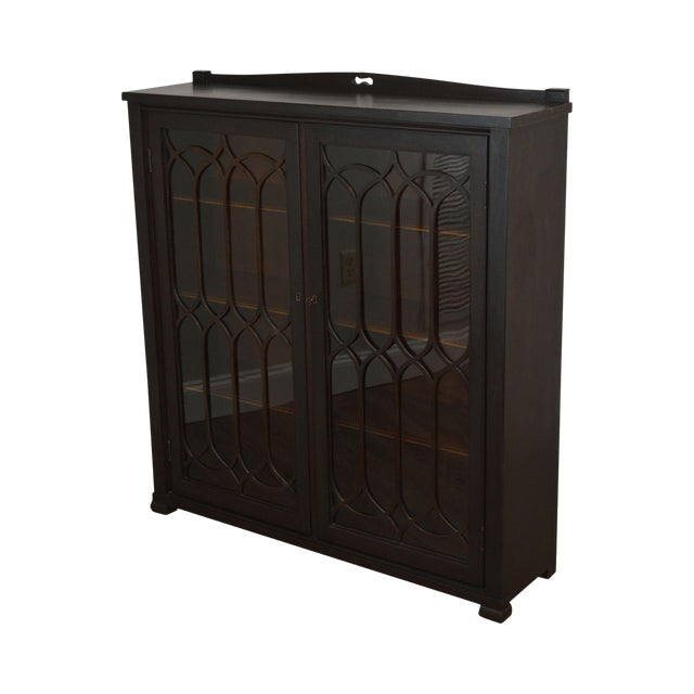 Antique Gothic Inspired Mahogany 2 Door Bookcase For Sale