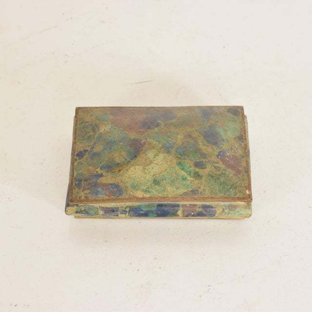 Mid-Century Mexican Modernist Malachite & Brass Small Trinket Box For Sale In San Diego - Image 6 of 9