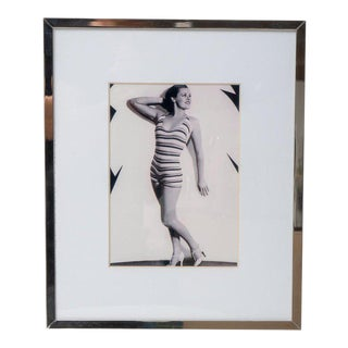 Mid-Century Modern Maureen O'Sullivan Photograph in Polished Chrome Frame For Sale