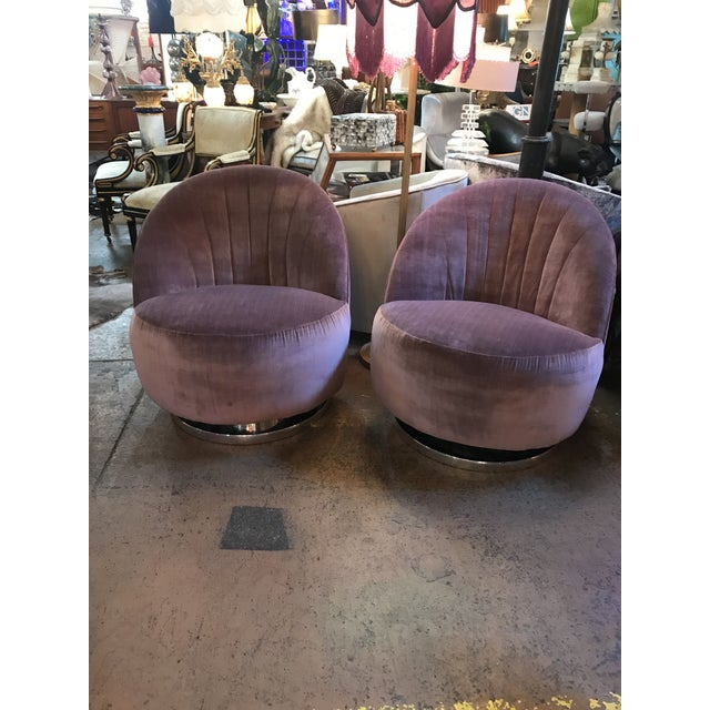 Milo Baughman Channel Back Swivel Lounge Chairs Thayer Coggin. Fully reupholstered in a Silk Velvet.