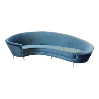 1950s Italian Curved Sofa, New Upholstery and Small Typical Brass Feet