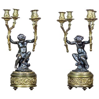 19th Century Four-Arm Bronze Candelabras - a Pair For Sale
