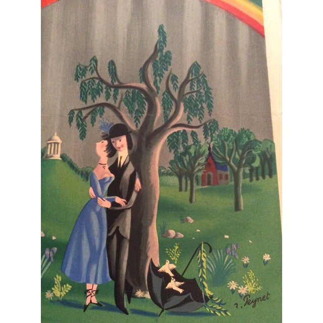 """Contemporary Raymond Peynet Original Lithograph """"The Lovers, the Tree, the Rainbow"""" For Sale - Image 3 of 6"""