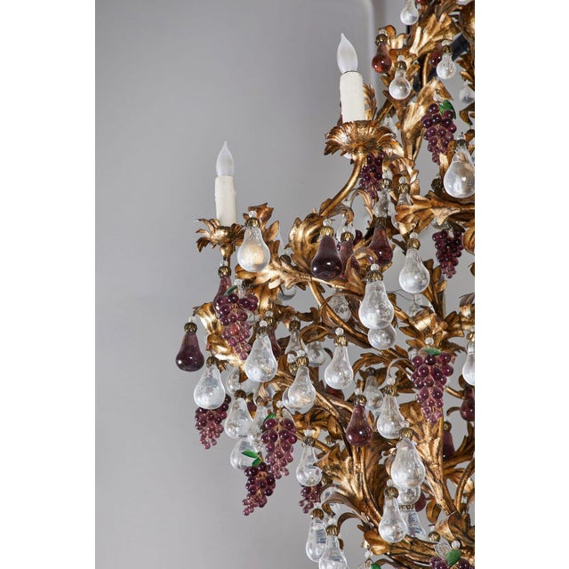 An Elaborate French 1930s Vinegrapes & Drops Chandelier For Sale - Image 9 of 9