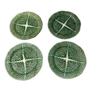 Vintage Majolica Secla Green Cabbage Salad Plates - Set of 4