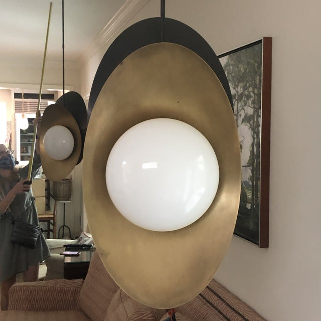 """2010s Visual Comfort """"Nouvel"""" Bronze With Antique Brass Pendant Ceiling Light For Sale - Image 5 of 12"""