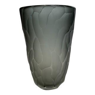 21st Century Smoke Murano Battuto Crystal Vase (L) by Alberto Dona For Sale